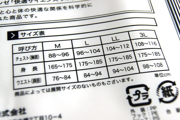 YGのサイズ表
