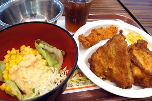 チキンとサラダ