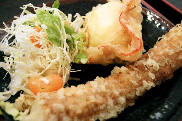 天ぷらと生野菜