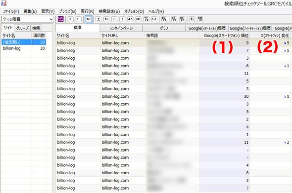 GRCモバイルで検索順位を確認