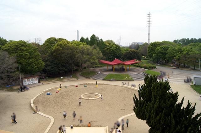 公園を一望できる景色