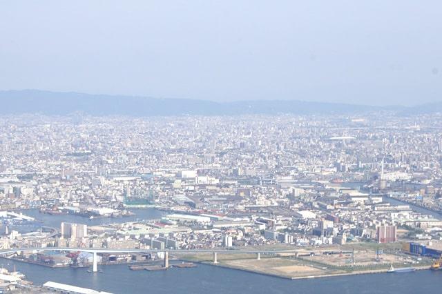 ヘリコプターから見た大阪
