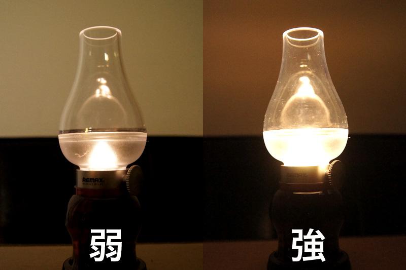 一番弱い明かりと一番強い明かりの比較