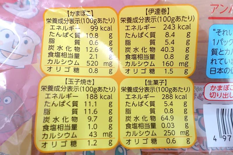 アンパンマンおせちの栄養成分表示