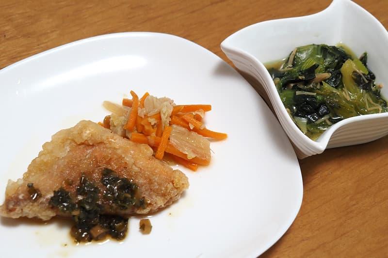 赤魚のネギソース 青梗菜のなめ茸和え
