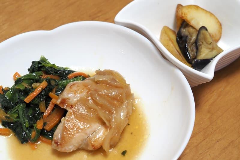 鶏肉の照り焼き ポテトフライ玉ねぎソース
