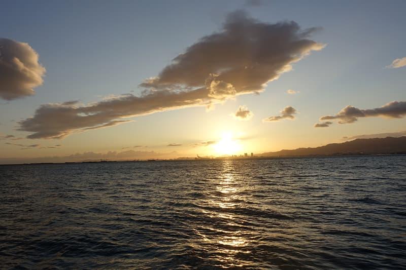 鳴尾浜臨海公園海づり広場の夕日