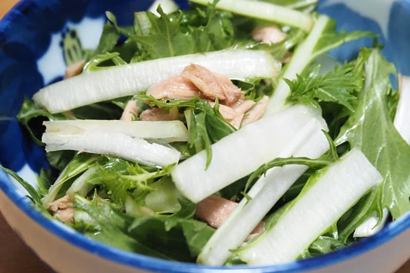 広茎水菜とツナのサラダ