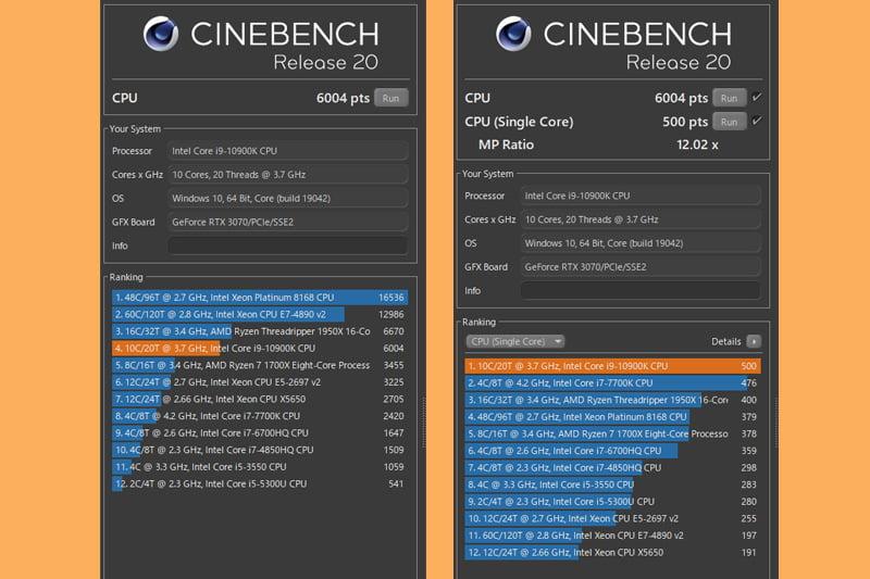 G-Tune HN-Z Cinebench Release 20ベンチマーク