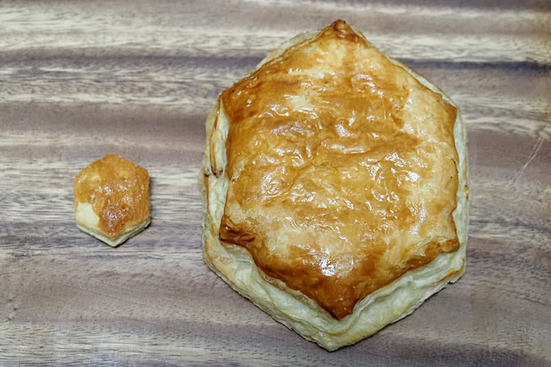 パイの実みたいなデニッシュとパイの実の大きさ比較