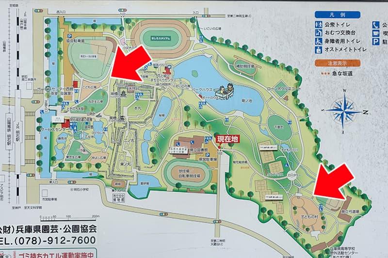 兵庫県明石公園のマップ
