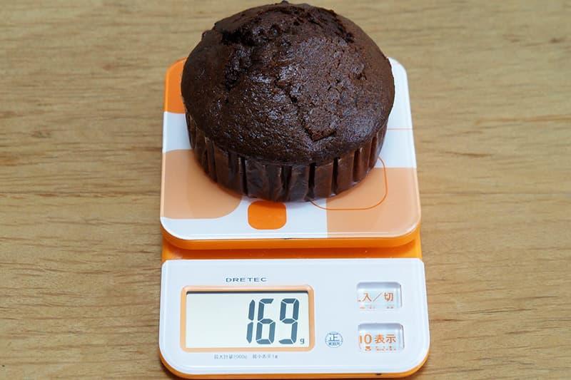 チョコレートチップマフィンの重さ