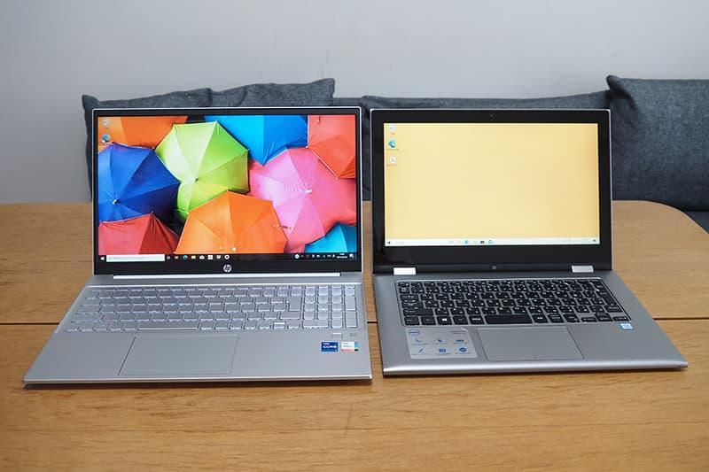 13.3インチのノートパソコンと15.6インチのHP Pavilion 15-egを比較